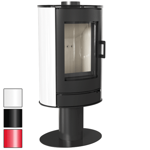 Kratki ABSNK wood log closed combustion pedestal freestanding fireplace with white ceramics