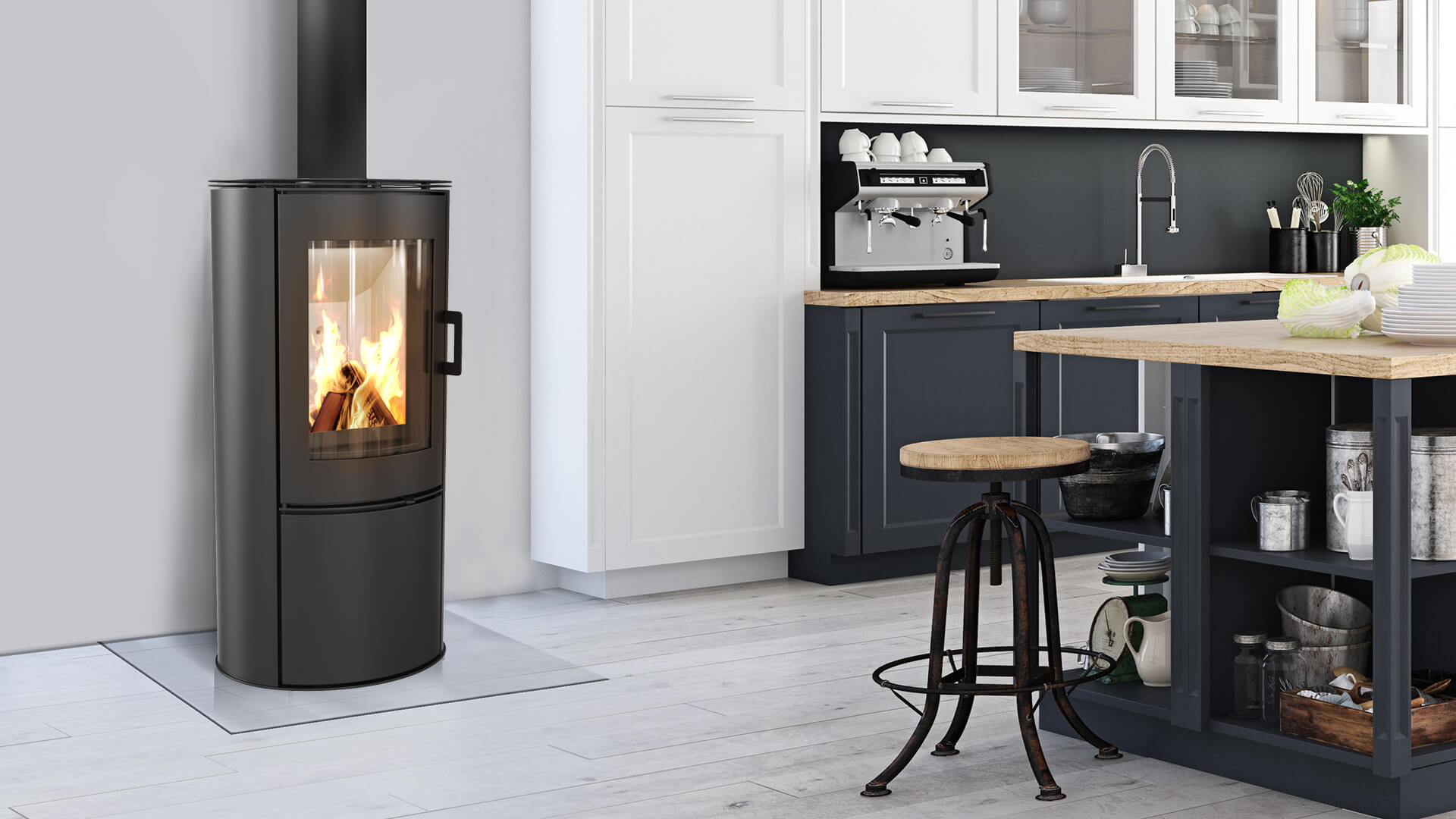Kratki ABS freestanding closed combustion fireplace