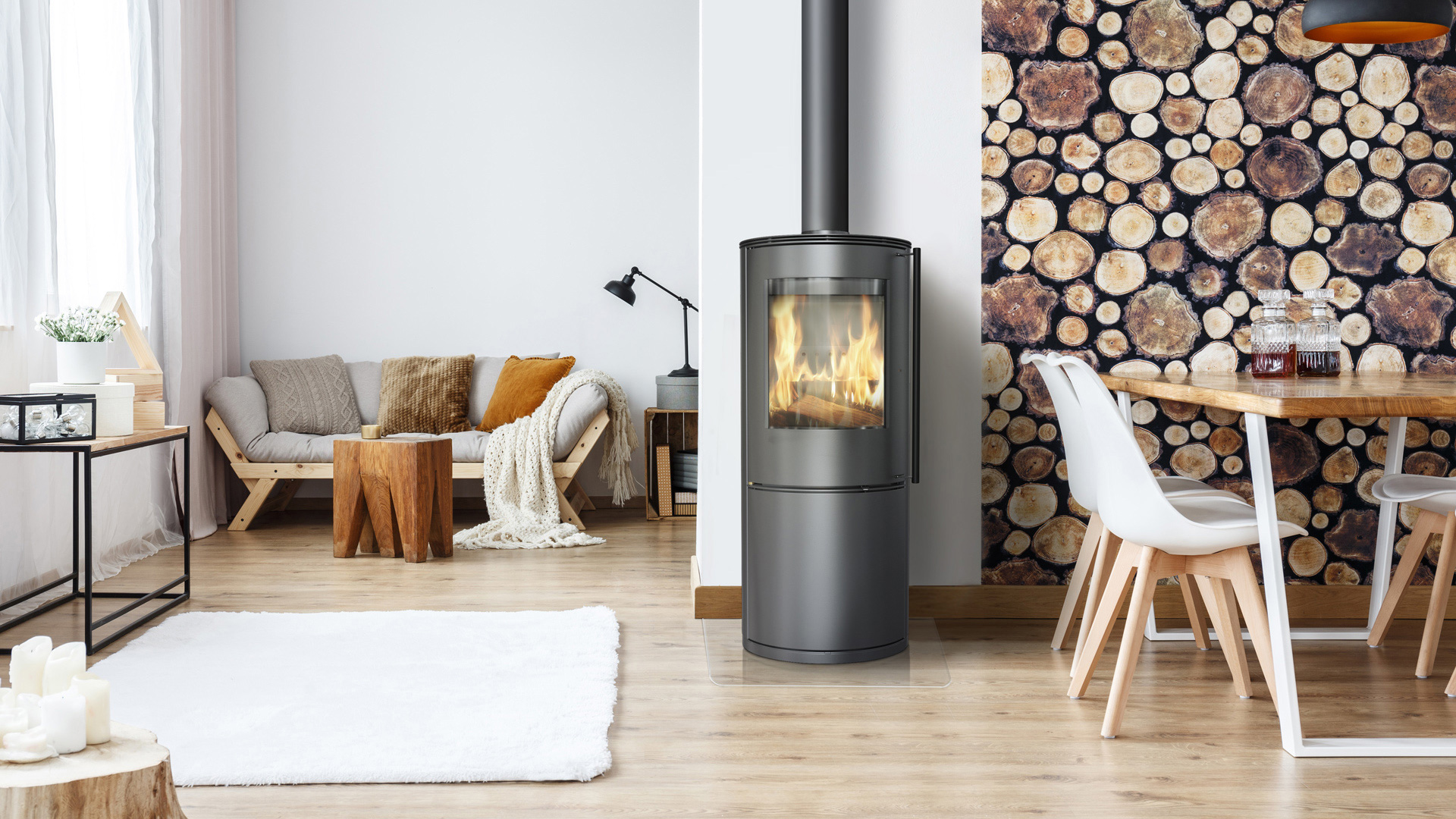 Kratki Antares freestanding wood burning fireplace